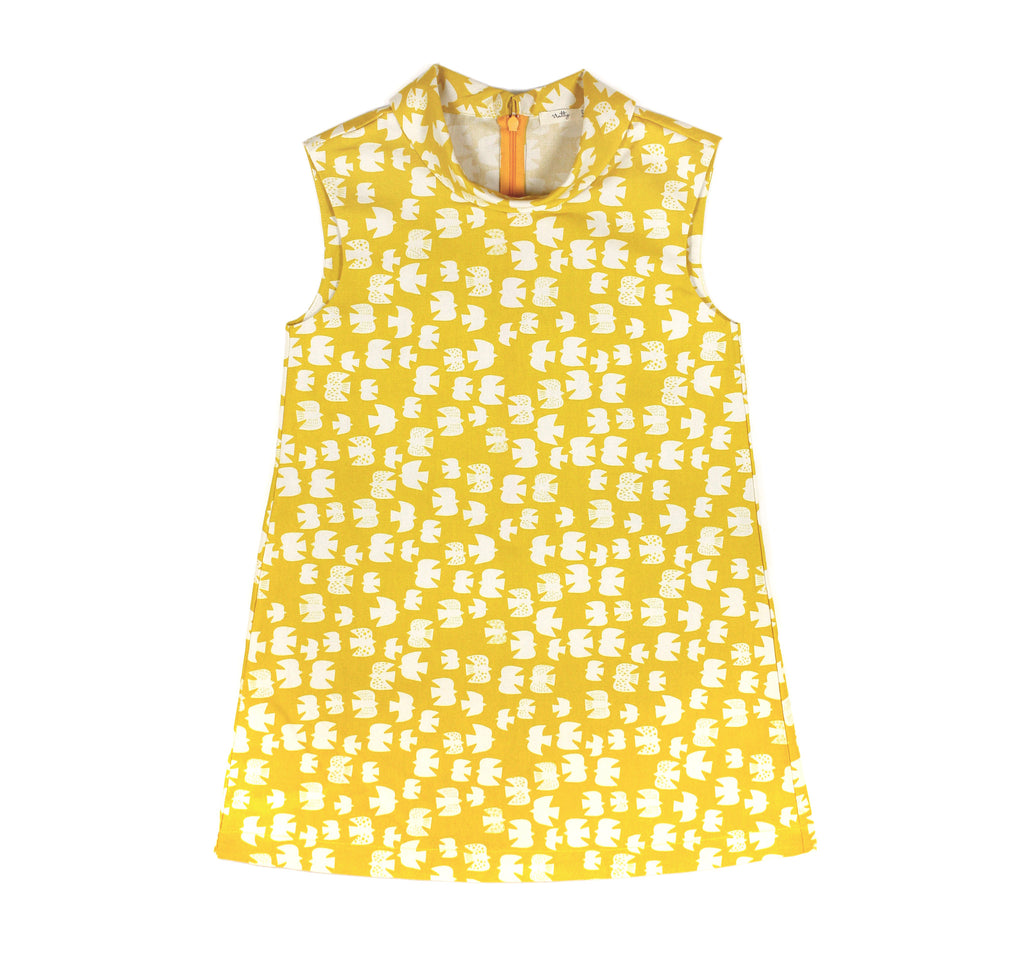 Flip Collar Dress in Yellow Birds