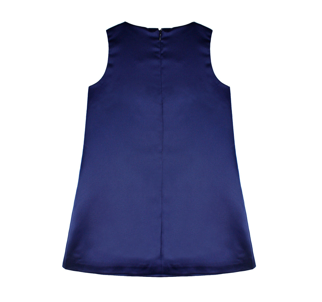 Cross Diagonals Shift Dress in Indigo