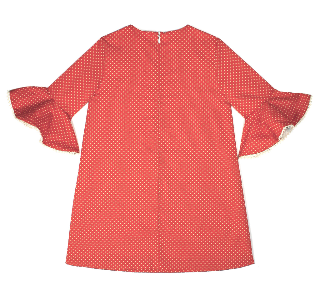 Flounce Sleeve Dress in Red Polka Dot