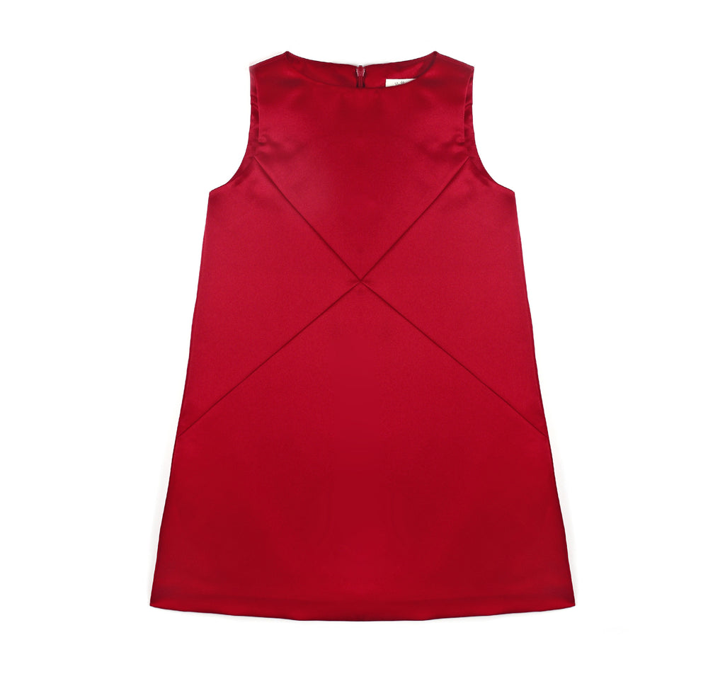 Cross Diagonals Shift Dress in Garnet