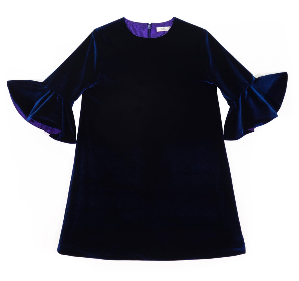 Flounce Sleeve Dress in Blue Velvet