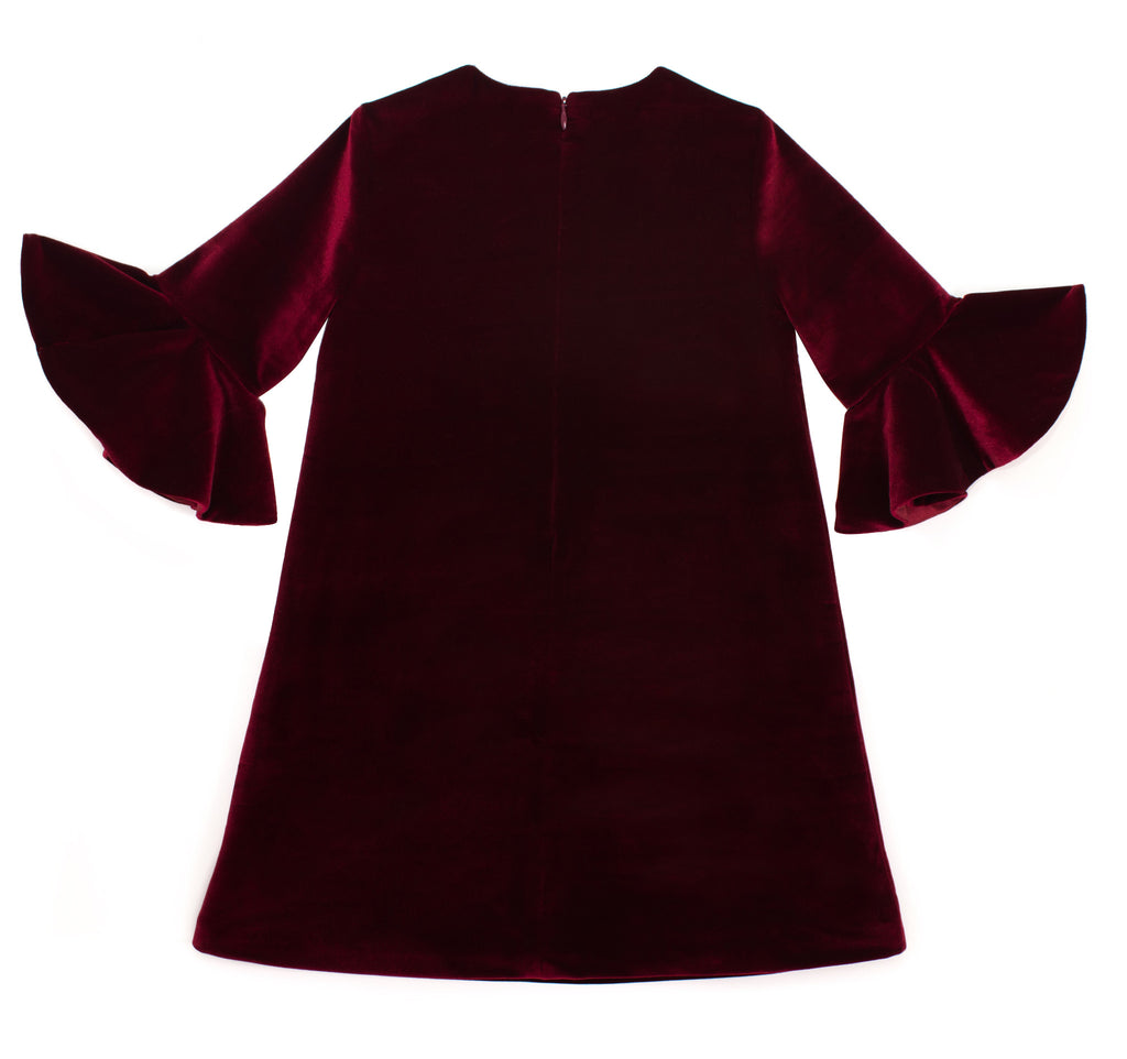 Flounce Sleeve Dress in Red Velvet