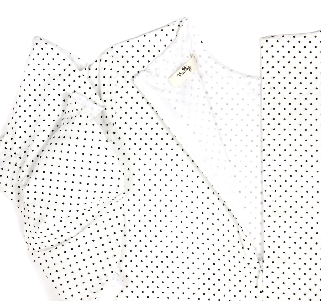 Flounce Sleeve Dress in Black and White Polka Dot