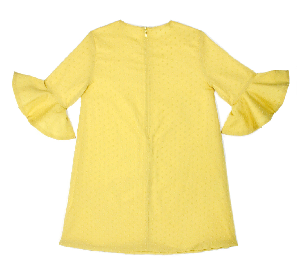 Flounce Sleeve Dress in Yellow Swiss Dot