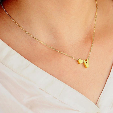 love letter initials necklace gold silver ornament city