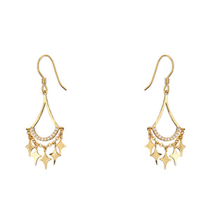 Star Point Gold Plated Earrings