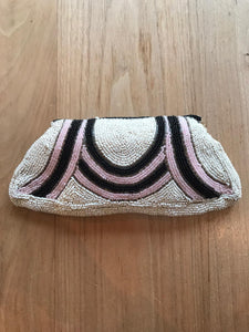 VINTAGE ART DECO 1930's MICRO BEADED BRIDAL CLUTCH BAG