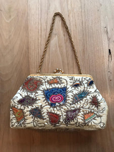"VINTAGE 1950'S EMBROIDERED ""KRUCKER'S OF CAVENDISH STREET"" SILK BRIDAL BAG"