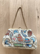 "Load image into Gallery viewer, VINTAGE 1950'S EMBROIDERED ""KRUCKER'S OF CAVENDISH STREET"" SILK BRIDAL BAG"