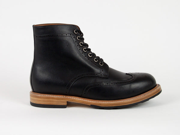 Brogue Goodyear Welted Boots - Black