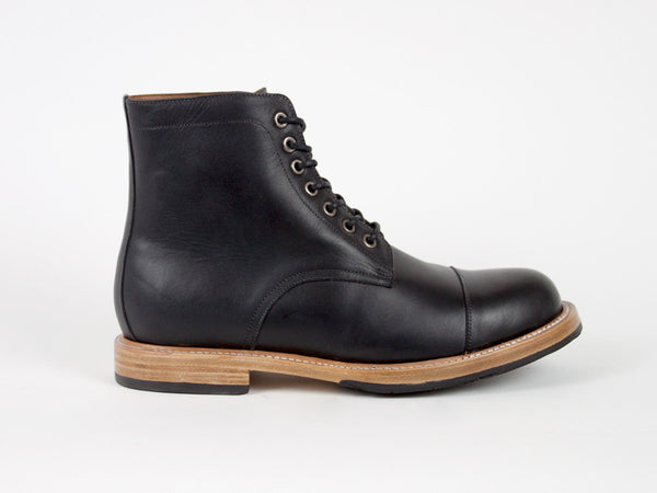 Cap Toe Goodyear Welted Boots - Black