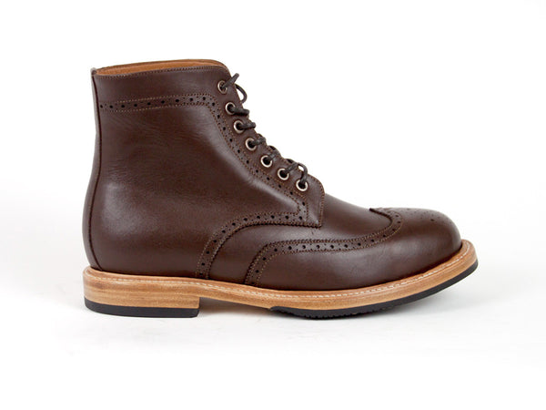 Brogue Goodyear Welted Boots - Dark Brown