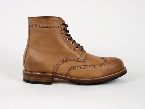 Brogue Goodyear Welted Boots - Light Brown