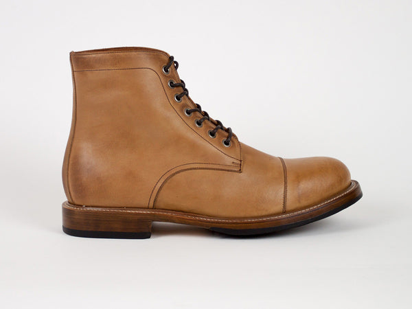 Cap Toe Goodyear Welted Boots - Light Brown