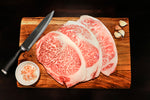 Japanese Authentic Wagyu Beef A5 grade, Highest grade Wagyu Ribeye A5 Steak.  Beef is sourced from the Japanese Black Cattle (Kuroge).