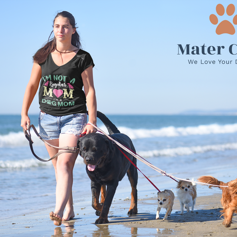 Dog Mom walking her dog by the beach. Fur mama with four dogs by the beach. Dog MOm Shirt