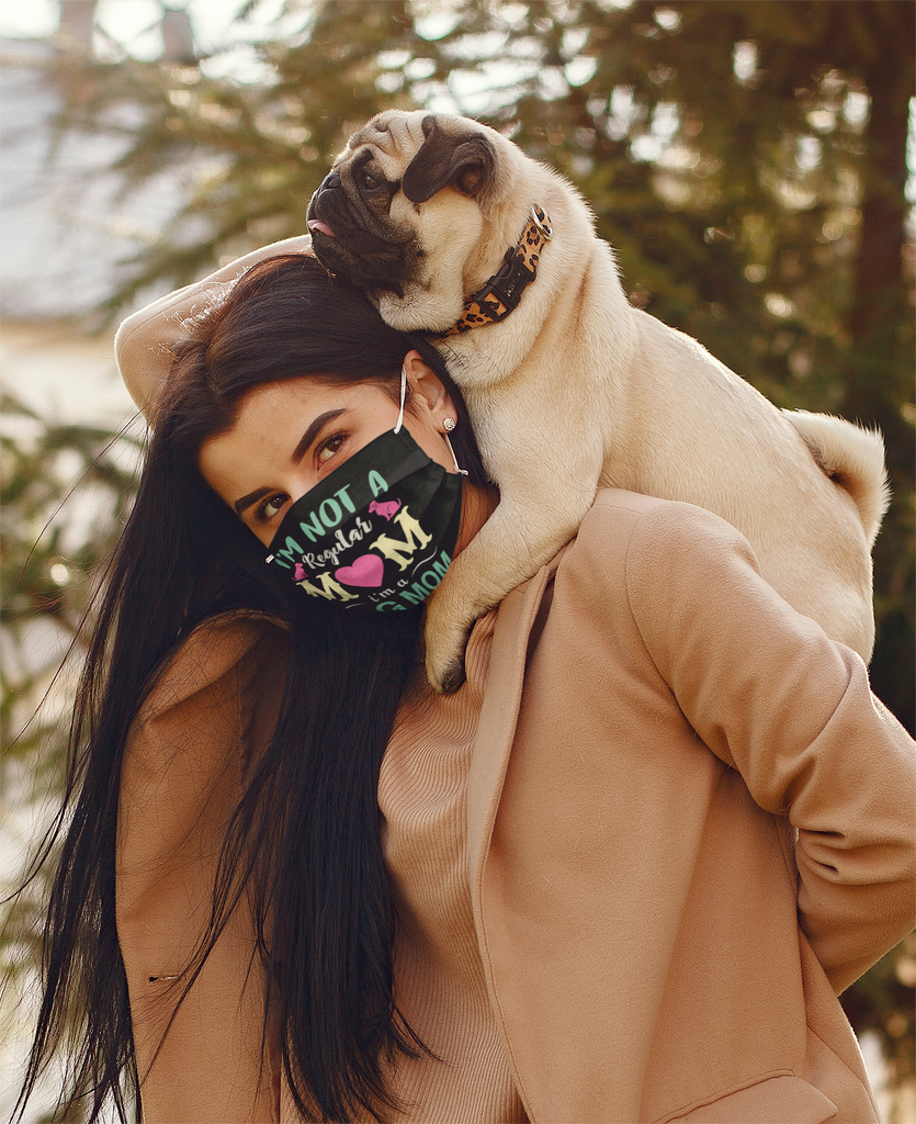 dog mom mask young girl with pug on back