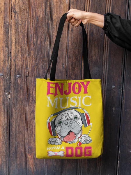 "Dog Mom ""Enjoy Music With A Dog"" Tote Bag"