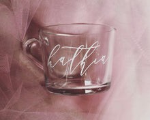 Load image into Gallery viewer, 8oz or 12 oz Custom Glass Name Mug with Vinyl Decal