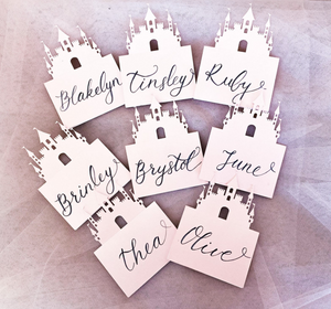 Custom Made Princess Castle Themed Party Name Cards