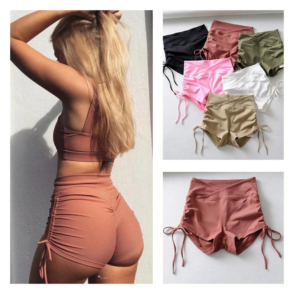 High Elastic Yoga Shorts Fitness Drawing Rope Wrinkle High Waist Running Short Summer Sports Tights Dancing Hot girl