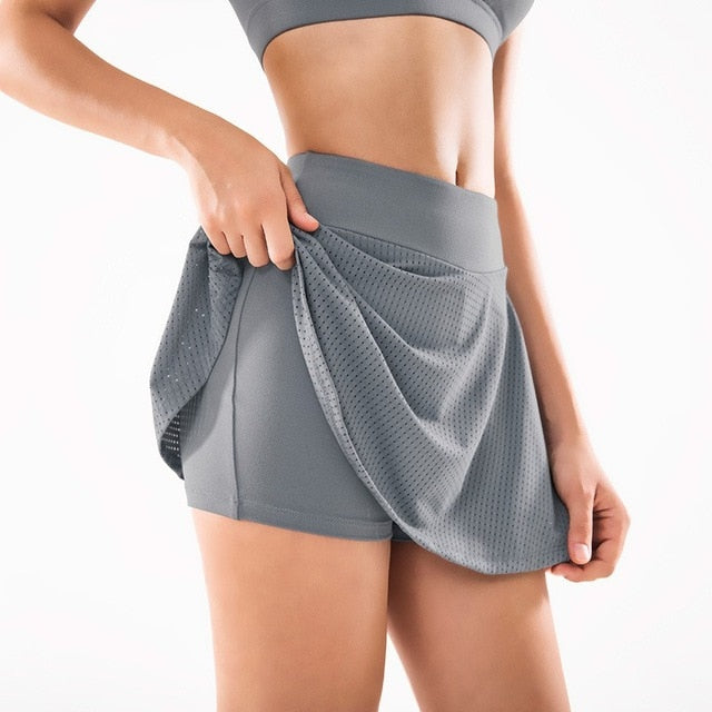 Gym Women Running Skirts High waist Safety Knickers Yoga Shorts Mesh Double Layer Patchwork Fitness Shorts Sports Short Skirt