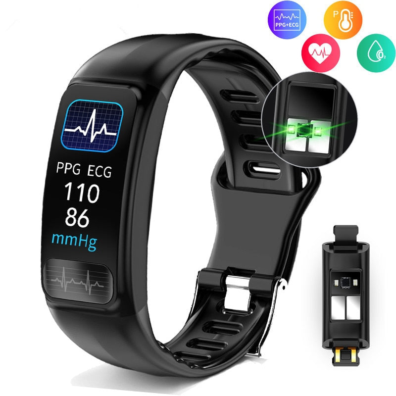 P12 ECG PPG Smart Bracelet Blood Pressure Heart Rate Monitor Smartband Sports IP67 Waterproof Fitness Tracker Smart Wristband