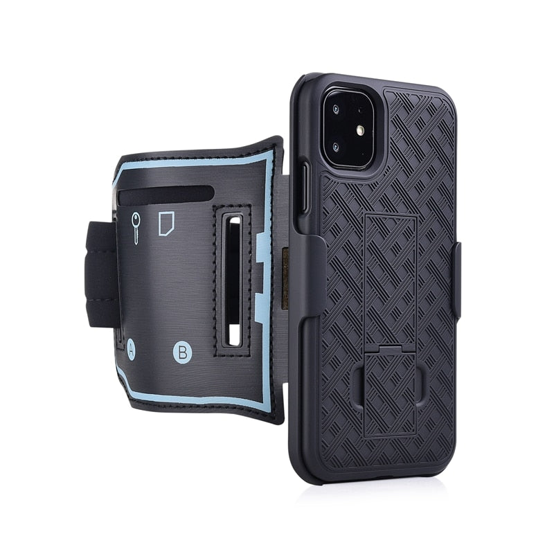 Running Sports Case Armband for IPhone 11 PRO X XR XS MAX Cover Exercise Phone Holder Pouch Arm Band Kickstand Back Case Shell