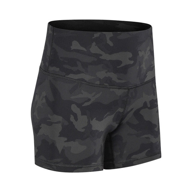 SHINBENE CAMO Prints High Waist Fitness Workout Shorts Women Naked-feel Fabric Plain Squatproof Yoga Trainning Sport Shorts