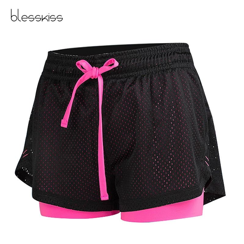 Blesskiss Mesh Sport Shorts Women Fitness Clothing Workout Lulu Running Gym Yoga Shorts For Lady Elastic Short Pants Sportswear