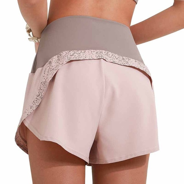 High Waist Workout Yoga Shorts Women 2 In 1 Running Shorts Reflective Quick Drying Gym Fitness Sport Shorts With Inner Pocket
