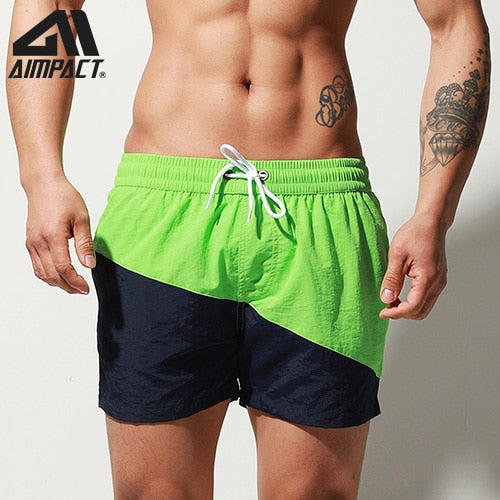 Aimpact Fast Dry Mens Board Shorts with Lining Sexy Patchwork Drawstring Surf Swim Trunks Beachwear Sport Running Hybrid Shorts