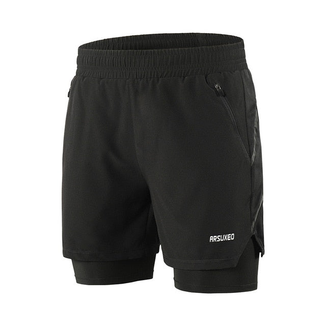 "ARSUXEO Men's 7"" Running Shorts 2 in 1 Quick Dry Athletic Training Exercise Jogging Sports Gym Shorts With Zipper Pocket  B191"