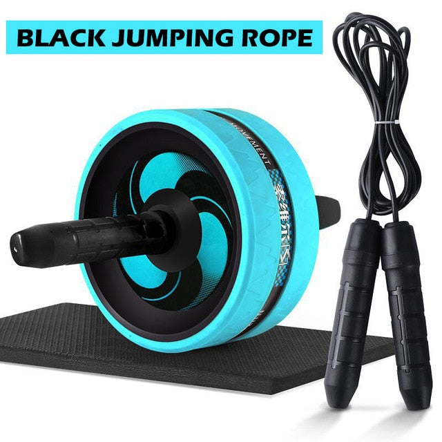 Roller & Jump Rope Mute Abdominal Wheel Ab Roller with Mat For Belly Exercise Fitness Equipment Accessories Bodybuilding X61B