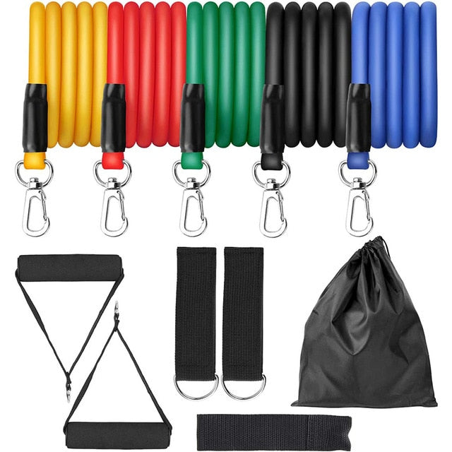 11pcs Exercise Resistance Bands Set Expander Yaga Pull Rope Gym Training Fitness Band Home Workout With Door Anchor Ankle Strap