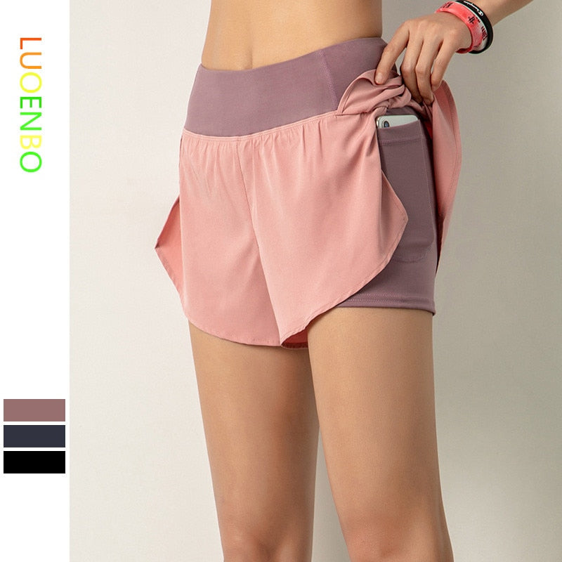 LUOENBO 2020 Women Gym Double shorts side pocket running shorts breathable quick dry yoga women shorts workout fitness sportwear