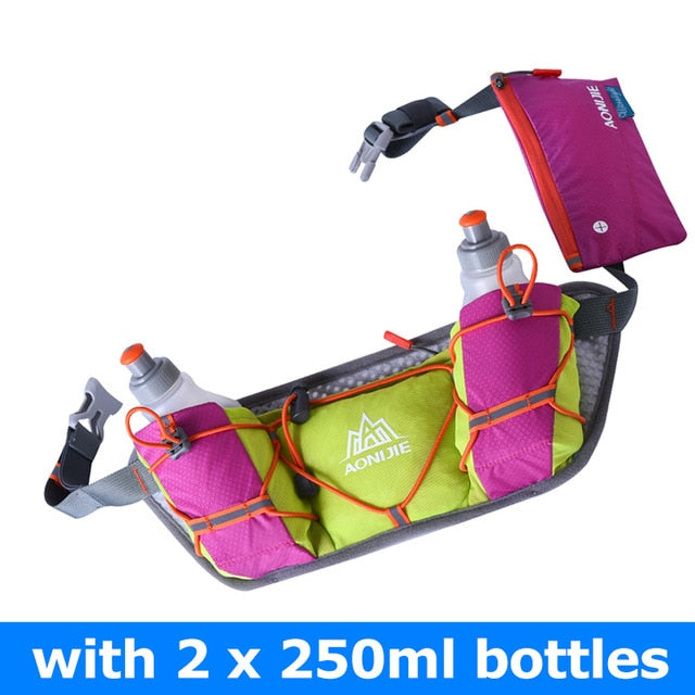 AONIJIE E888 Marathon Jogging Cycling Running Hydration Belt Waist Bag Pouch Fanny Pack Phone Holder with 250ml Water Bottles