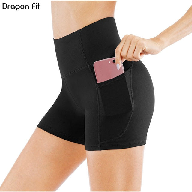 Dragon Fit High Waist Athletic Yoga Shorts For Women Pocket Sport Cycling Shorts Compression Workout Fitness Gym Running Shorts