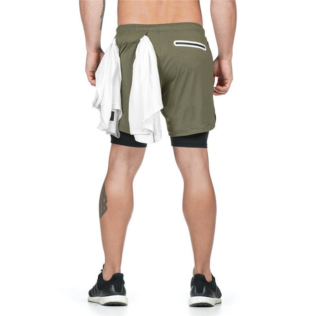 2020 NEW Men's Running Shorts Mens 2 in 1 Sports Shorts Male double-deck Quick Drying Sports men Shorts Jogging Gym Shorts men