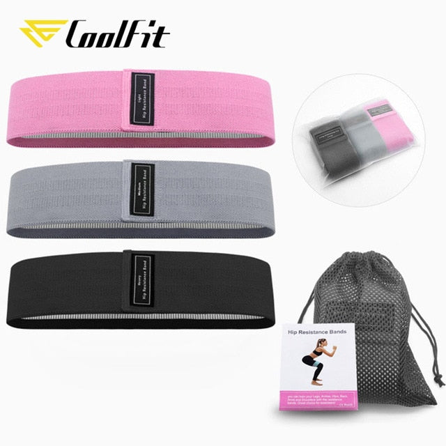 CoolFit 3PCS Hip Band Yoga Resistance Band Wide Fitness Exercise Legs Band Loop For Circle Squats Training Anti Slip Rolling