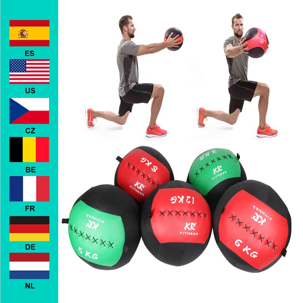 35cm Medicine  Empty Snatch Wall Balls Heavy Duty Exercise Kettlebell Lifting Fitness  Muscle Building New Random Color