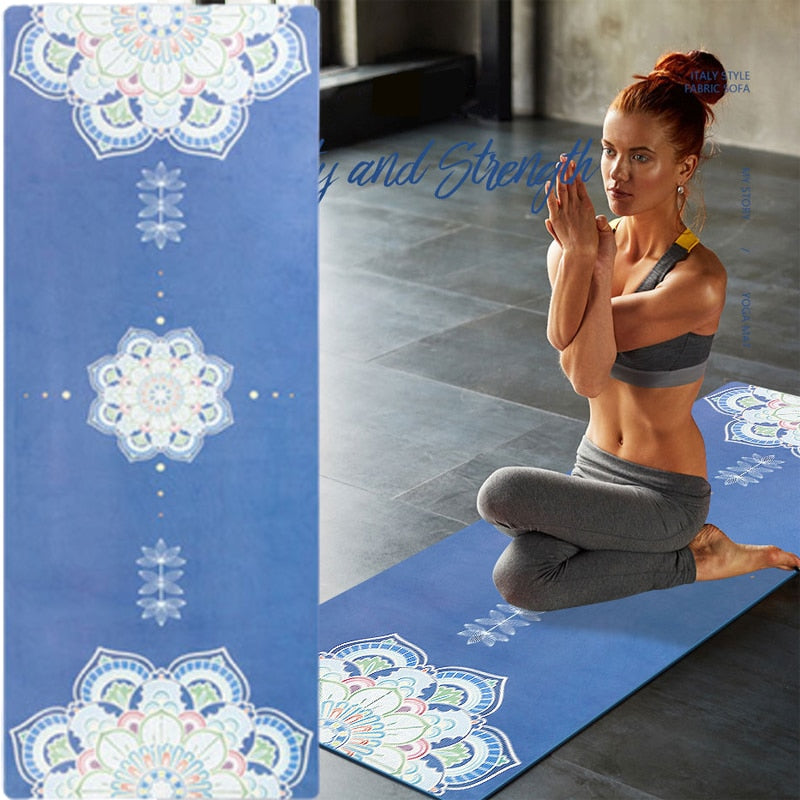 183*68cm TPE Suded Yoga Mat 6mm Gym Sports Fitness Exercise Pads Body Aligning Yoga Mat With Position Line Non-slip Pilates Mat