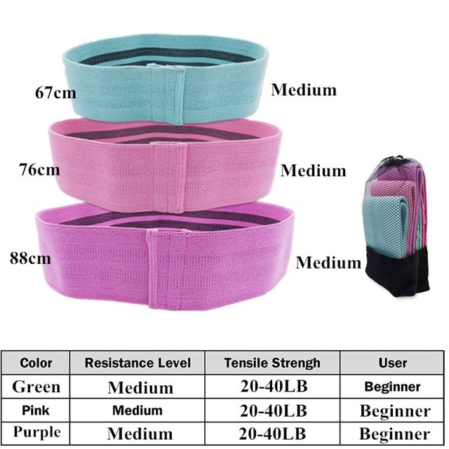 Booty Builder Hip Resistance Bands Set Fabric Non Slip for Fitness Yoga Pilates Legs and Butt Glute Workout Stretching Training