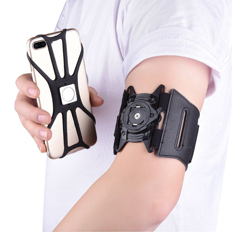Detachable Armband Mobile Phone Case Rotatable Wristband Phone Holder for 4-6 in Phone Running Cycling Fitness Accessory