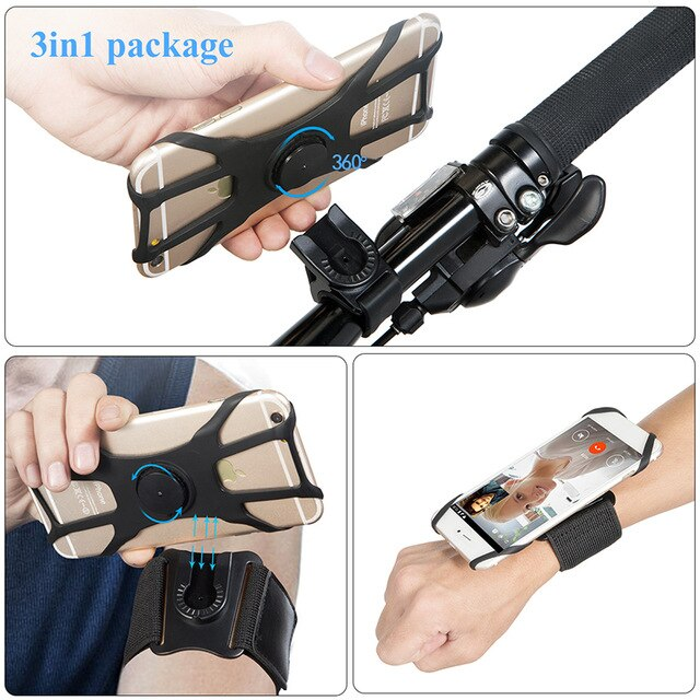 3 in1 Removable Silicone Bicycle Bike Phone Holder On Hand Running Sport Armbands For iPhone Samsung Xiaomi Wrist Arm Band Case
