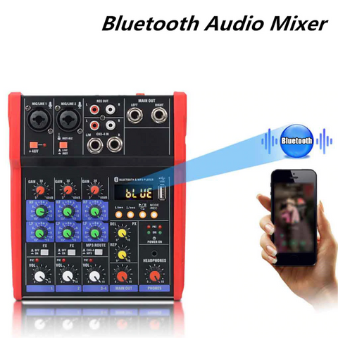 Bluetooth usb 4 channel audio mixer