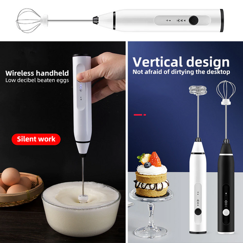 Electric Egg Beaters Rechargeable Milk Frother with 2 Whisks