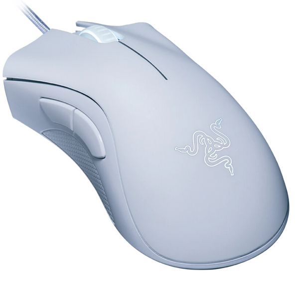 white razer wired gaming mouse