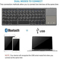 Foldable Bluetooth Keyboard, Jelly Comb Dual Mode Bluetooth & USB Wired Rechargable Portable Mini BT Wireless Keyboard with Touchpad Mouse for Android, Windows, PC, Tablet