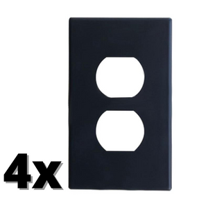 4x Black Electrical Outlet Wall Plates with LED Night Lights Automatic Sensor